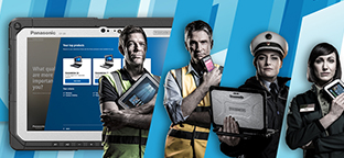Four people using different products from the Mobile solutions division